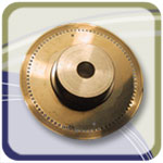 perforated chem etch encoder wheel in brass with very tight tolerances
